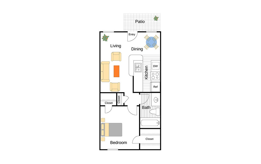 A Aynesworth unit with 1 Bedrooms and 1 Bathrooms with area of 520 sq. ft