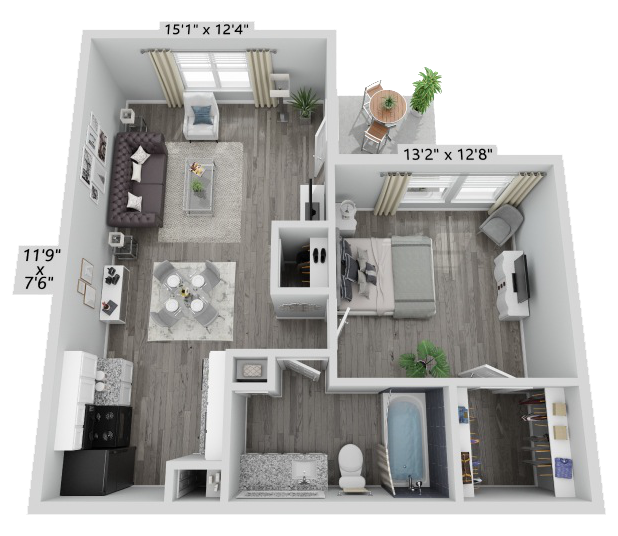 A Paxton unit with 1 Bedrooms and 1 Bathrooms with area of 580 sq. ft