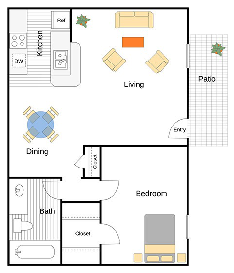 A Vandergriff unit with 1 Bedrooms and 1 Bathrooms with area of 620 sq. ft