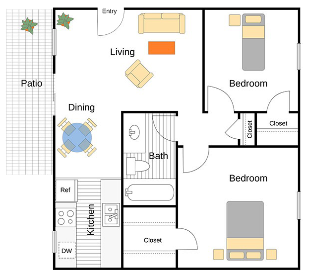A Emery unit with 2 Bedrooms and 1 Bathrooms with area of 780 sq. ft