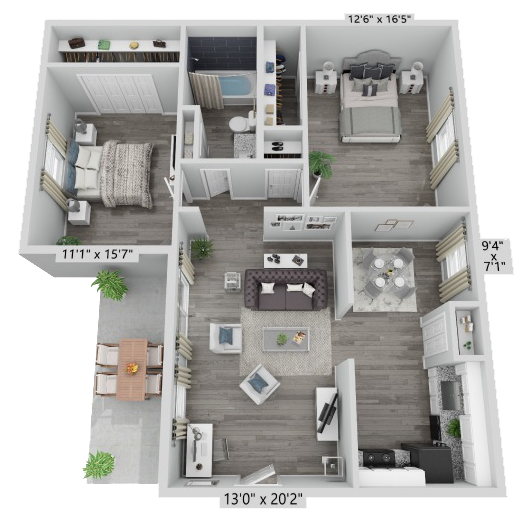 A Ruby unit with 2 Bedrooms and 1 Bathrooms with area of 800 sq. ft