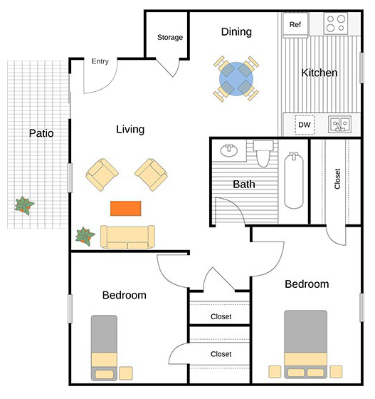 A Padilla unit with 2 Bedrooms and 1 Bathrooms with area of 840 sq. ft