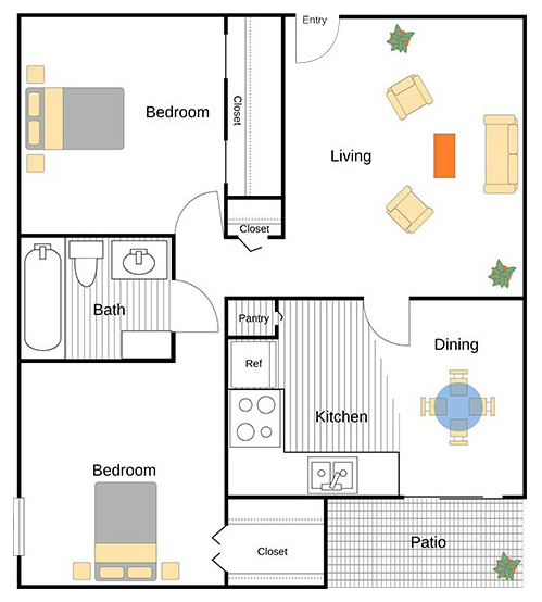A Kaufman unit with 2 Bedrooms and 1 Bathrooms with area of 885 sq. ft