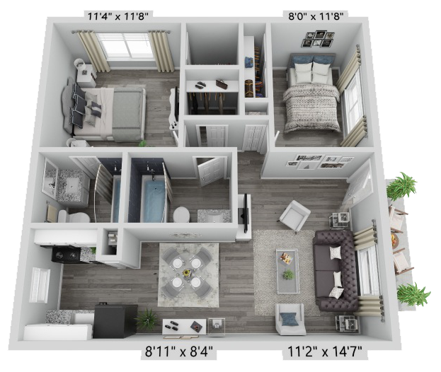 A Ventura unit with 2 Bedrooms and 2 Bathrooms with area of 900 sq. ft